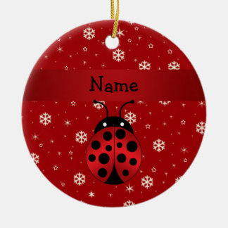 Personalized name ladybug red snowflakes christmas ornaments