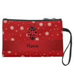 Personalized name ladybug red snowflakes suede wristlet wallet
