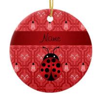 Personalized name ladybug red snowman trellis ceramic ornament