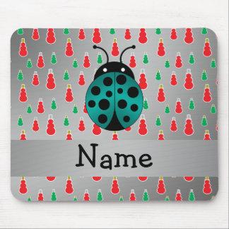 Personalized name ladybug silver snowman mousepad