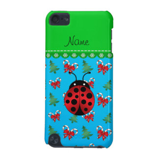 Personalized name ladybug sky blue candy canes bow iPod touch 5G cover