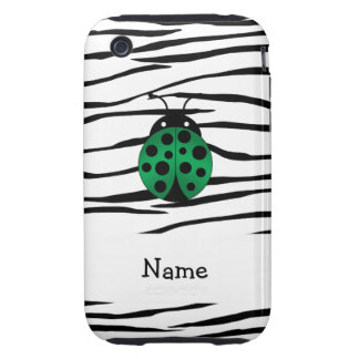 Personalized name ladybug zebra stripes iPhone 3 tough cover
