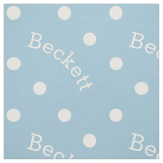 Personalized Name Light Baby Blue Polka Dot Fabric