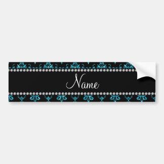 Personalized name light blue damask car bumper sticker