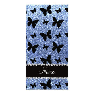 Personalized name light blue glitter butterflies photo card