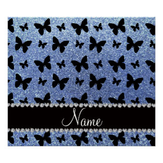 Personalized name light blue glitter butterflies poster