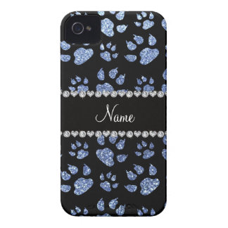 Personalized name light blue glitter cat paws Case-Mate iPhone 4 case