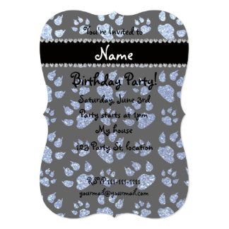 Personalized name light blue glitter cat paws 5x7 paper invitation card