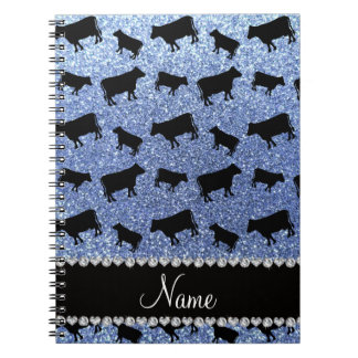 Personalized name light blue glitter cows notebook