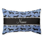 Personalized name light blue glitter dachshunds small dog bed