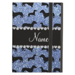 Personalized name light blue glitter dachshunds iPad air cases