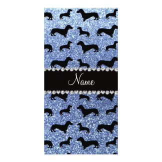 Personalized name light blue glitter dachshunds personalized photo card