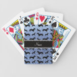 Personalized name light blue glitter dachshunds bicycle playing cards