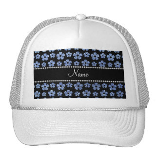 Personalized name light blue glitter flowers hat