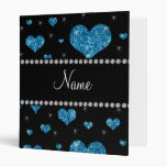 Personalized name light blue glitter hearts binder