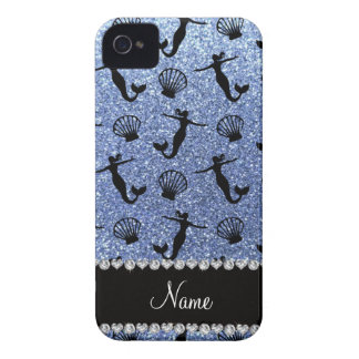 Personalized name light blue glitter mermaids iPhone 4 case