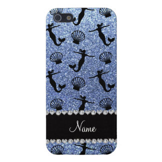 Personalized name light blue glitter mermaids case for iPhone SE/5/5s