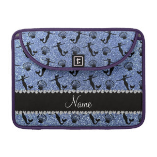 Personalized name light blue glitter mermaids sleeves for MacBook pro