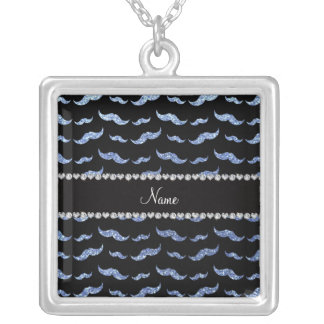 Personalized name light blue glitter mustaches pendant