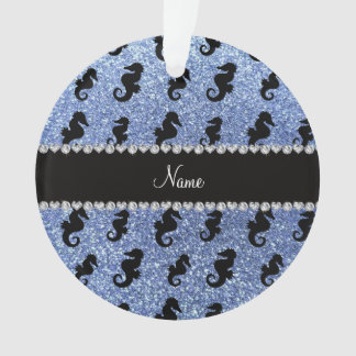 Personalized name light blue glitter seahorses
