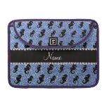 Personalized name light blue glitter seahorses MacBook pro sleeve