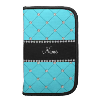 Personalized name light blue tuft diamonds planners
