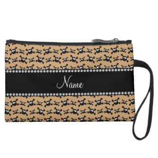 Personalized name light brown skulls pattern wristlet clutches