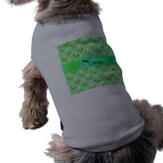 Personalized name light green baseball pet tshirt