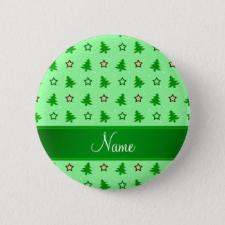 Personalized name light green christmas stars button