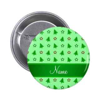 Personalized name light green christmas stars 2 inch round button