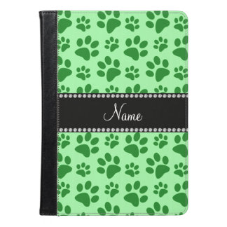 Personalized name light green dog paw prints