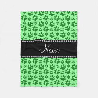 Personalized name light green dog paw prints fleece blanket