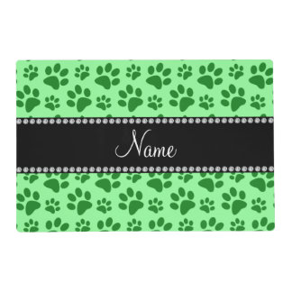 Personalized name light green dog paw prints laminated place mat