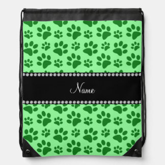 Personalized name light green dog paw prints drawstring backpack