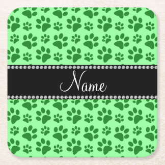 Personalized name light green dog paw prints square paper coaster