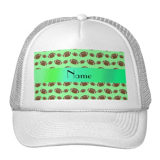 Personalized name light green footballs hats