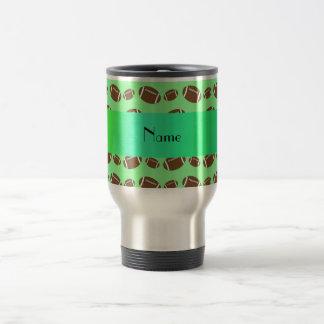 Personalized name light green footballs 15 oz stainless steel travel mug