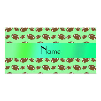 Personalized name light green footballs photo card template
