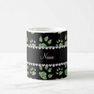 Personalized name light green glitter cat paws coffee mug