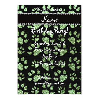 Personalized name light green glitter cat paws 5x7 paper invitation card