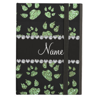 Personalized name light green glitter cat paws iPad cover