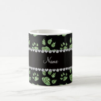 Personalized name light green glitter cat paws coffee mugs