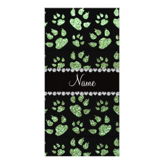 Personalized name light green glitter cat paws customized photo card