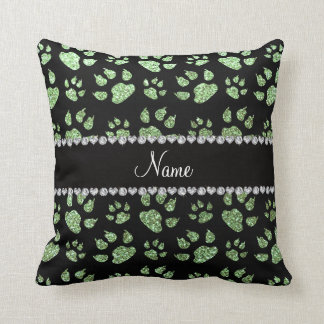 Personalized name light green glitter cat paws throw pillow