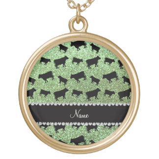 Personalized name light green glitter cows gold plated necklace