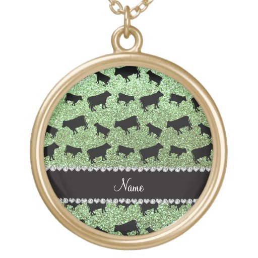 Personalized name light green glitter cows necklace