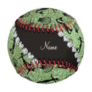 Personalized name light green glitter mermaids baseballs