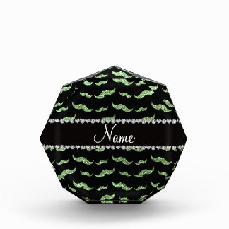 Personalized name light green glitter mustaches awards