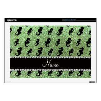 Personalized name light green glitter seahorses laptop decal