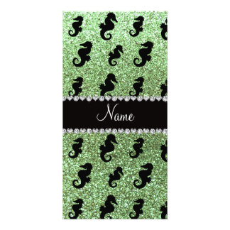 Personalized name light green glitter seahorses photo card